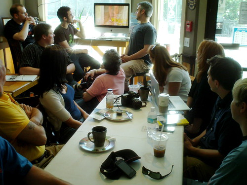 """Watching the trailer for new web series """"The Mayfarers"""" at NH Media Makers (by mrjohnherman)"""