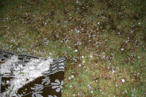 The view out my door last night. Is it snow.... no hail.
