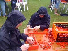 Kev and Jo building the bricks