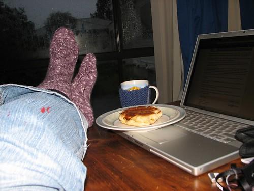 socks, tea and scone toastie on a rainy afternoon