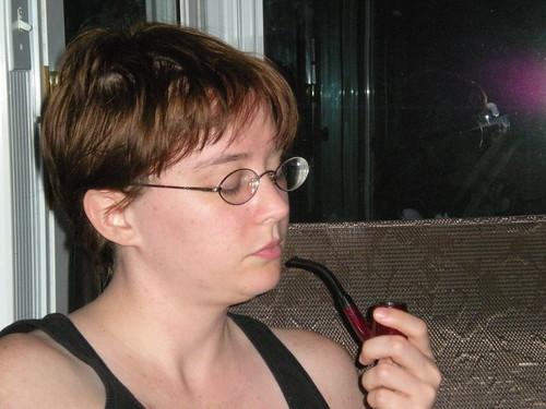Cyndi's pipe smoking debut
