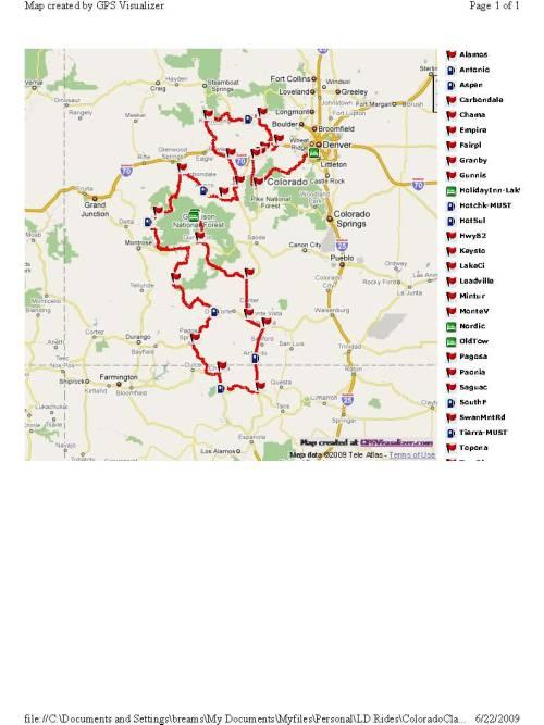 2009 Colorado Classic 1000 Route