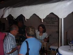 Jennifer Nesbitt (a Lunch Lady) pouring wine til closing time