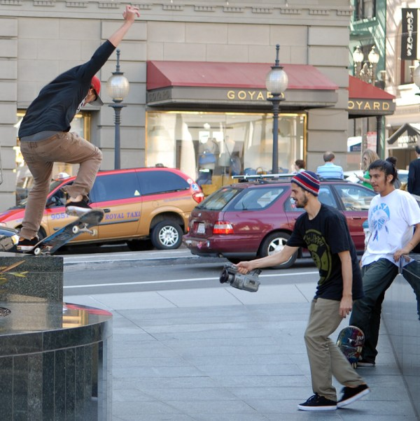 Skateboarding at Union Square in San Francisco