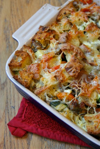 Sausage and summer veg strata 2
