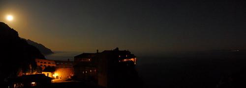 Simonos Petra Monastery Night Panorama