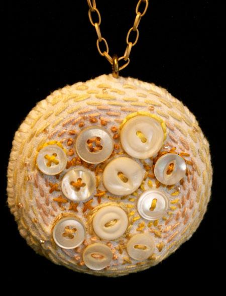 White Button Embroidery Pendant