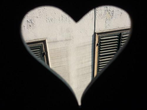 A heart in the window shutter