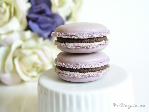 Chocolate Plum Macarons