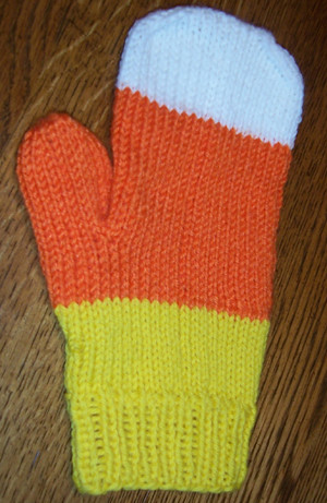 * Candy Corn mittens!  Candy Corn!  Awesome.