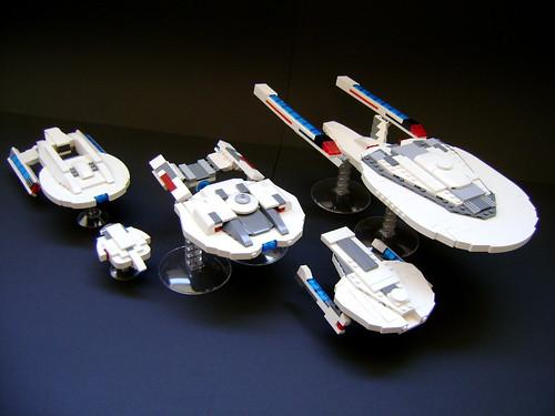 LEGO microscale Star Trek First Contact fleet