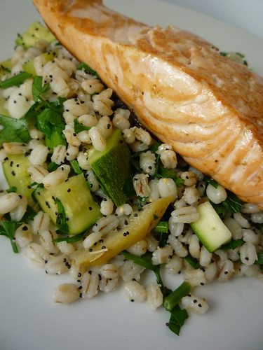 Salmon with Barley , Courgette, Spring Onion and Parsley Salad by you.