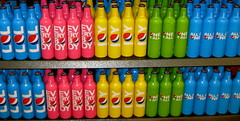 Colorful Pepsi display. Love the funky bottles.