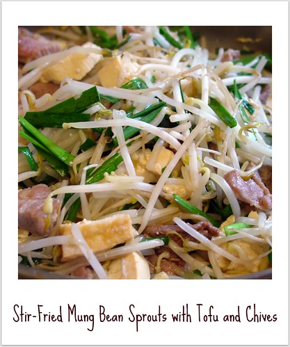 stir fried mung bean sprouts with tofu and chives by you.