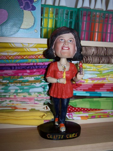Crafty Chica bobblehead! by Amy Cluck of Peptogirl Industries.