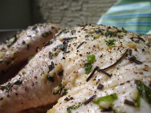 Spatchcocked Chicken w/ a Basil, Lemon-Thyme, Parsley, Rosemary, Garlic, & EVOO Marinade
