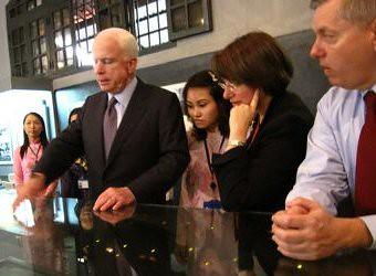 Sen. Lindsey Graham (right) at Hoa Lo Prison Museum with Sens. McCain and Klobuchar. © Matt Steinglass 2009.