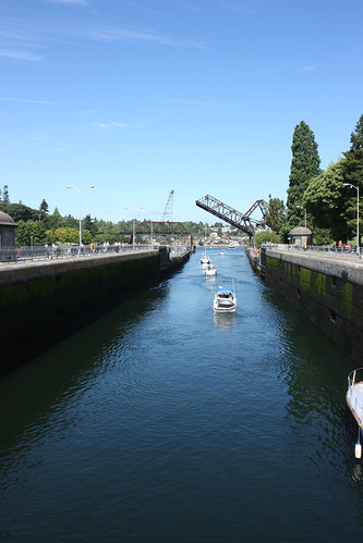 Boat ladder and raised drawbridge at the Ballard Locks