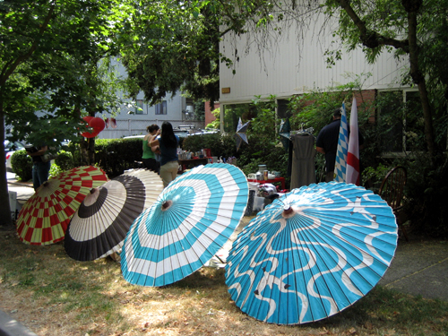 Yard sale parasols