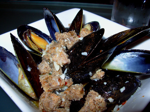 Steamed mussels with chorizo, sherry, and garlic