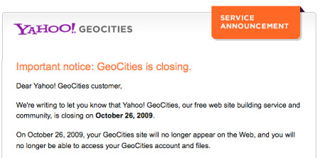 geocities notice
