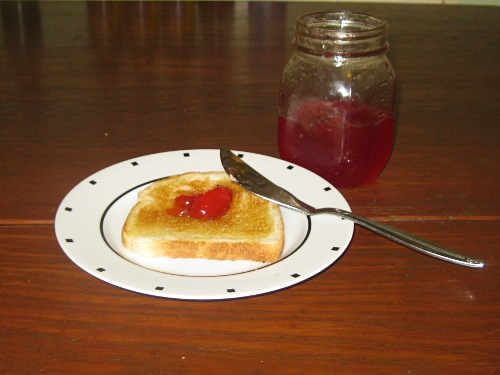 crabapple jelly on toast