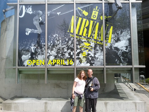 Seattle - Science Fiction Museum - Vicky and Ryan in Front of Nirvana Poster (By Brian N)