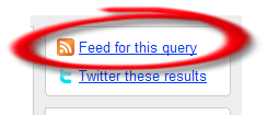 Feed link for a Twitter Search