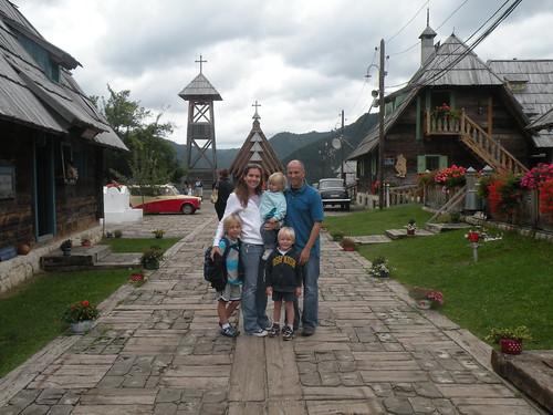 We are in the Nikola Tesla Plaza in Kusturicas Village