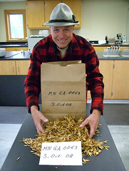 UMN Assistant Scientist Egon Humenberger with green ash seed collected in 2008.