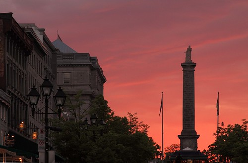 Nelson Column and Place Jacques-Cartier at Sunset