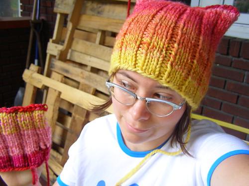 strawberry sunrise shifting stripes hats