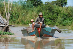 Coming down the river at the flooded forest of Kompong Pluk in Siem Reap