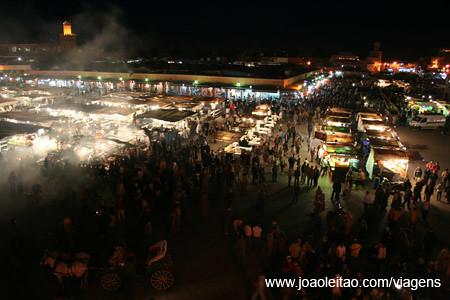 Marrakesh Main Square by night, Place Jemma El-Fna, Marrakech Morocco