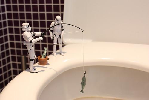 Pescando en el lago WC