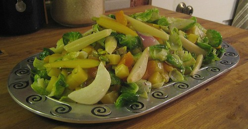Brussels Sprouts and winter vegetables with Apricots and Pistachios