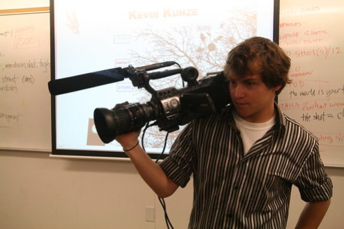 "Kevin Kunze holds the video camera that he recently purchased to shoot ""Id"" his first feature length film.  Picture by Melissa Stihl/Foghorn"
