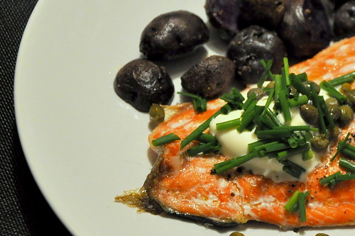 Slow Roasted Salmon with Crème Fraîche and Capers