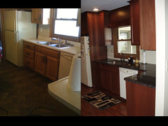 Kitchen Remodel, before and after, view of sink