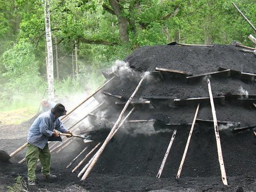 stack for making charcoal, just lit by Vilseskogen.
