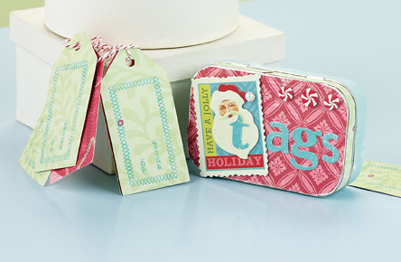 A retro Santa with vintage style makes this tin and tag set something extra special