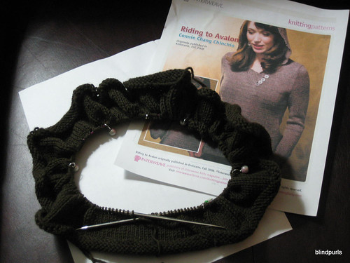 Pictuer of my Riding to Avalon Sweater (its knit from the bottom up in the round)
