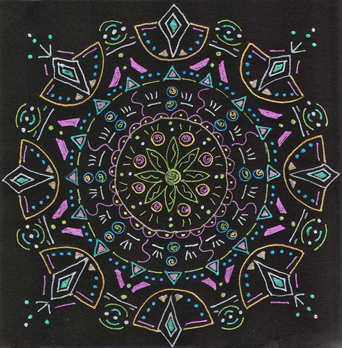 mandala #12 marker & gel ink on black paper (c) 2009, Lynne Medsker