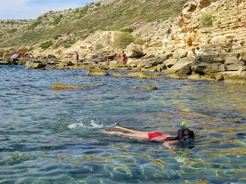 My friend Enri snorkeling at Cala Blava