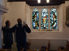 Stephen chats to Rev Andrew Body about his fathers window at St Lawrence, Chobham