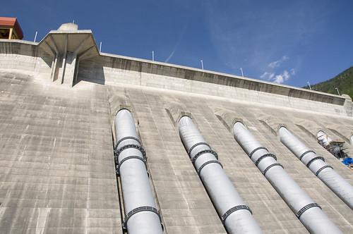 Revelstoke Dam which spans across Columbia River in British Columbia