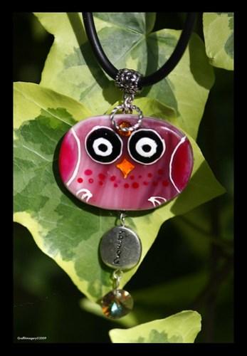 BINDI BIRD fused glass pendant by Sandra Miller ©2009 by you.