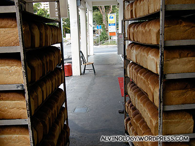 Rows and rows of freshly baked bread, left to cool outside the shop