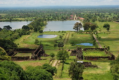 Wat Phou with the town of Champasak in the distance