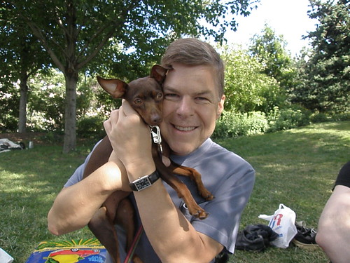 Page Six editor, Bill Hoffmann and tiny dog, Miss Bunny